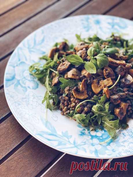 Летний салат с грибами и чечевицей | Veg рецепты | Яндекс Дзен