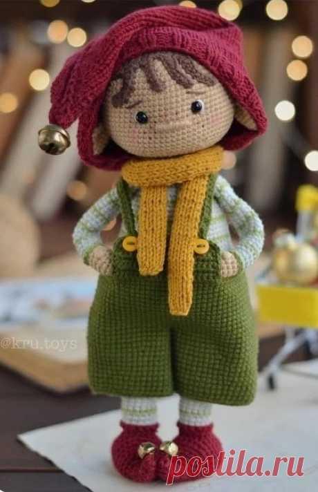 рождественский мальчик-эльф | Вязаные игрушки. Мастер-классы, схемы, описание.