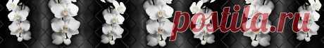 Скинали белые орхидеи на фоне черной плитки
