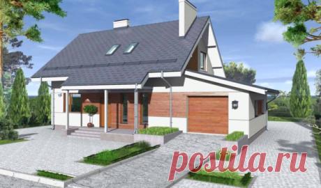 Уютный загородный дом с гаражом. Обзор, проект и описание. 4 спальни + гостиная.