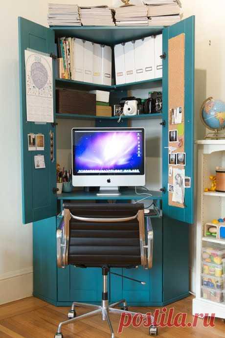 Домашний офис на 1 квадратном метре: идея 2 — рабочая станция в шкафу