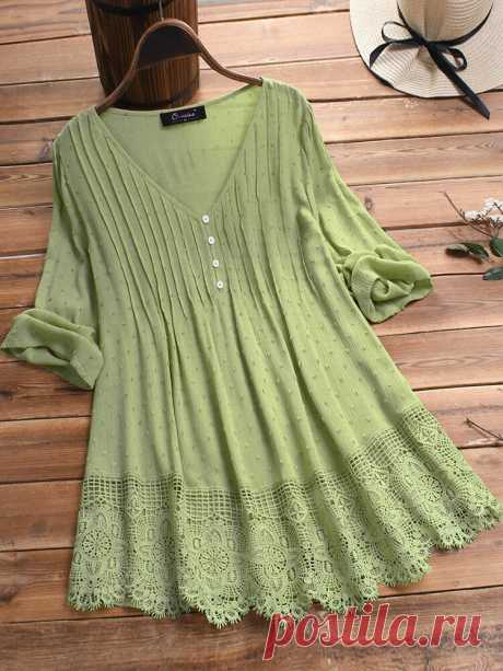 Jacquard Pleated Lace Hollow Out V-neck Plus Size Blouse Your friend shared a fashion website for you and give you $60 coupons! Claim it now.
