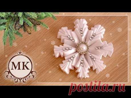 Simple snowflake from tapes. MK. Kanzasha. \/ DIY. Kanzashi. Ribbon snowflake.