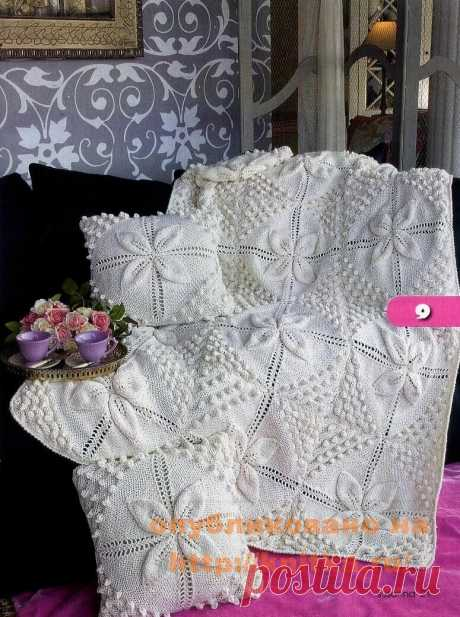 Вязаные пледы для домашнего уюта. Подборка узоров для вязания спицами (15 схем) | Факультет рукоделия | Яндекс Дзен