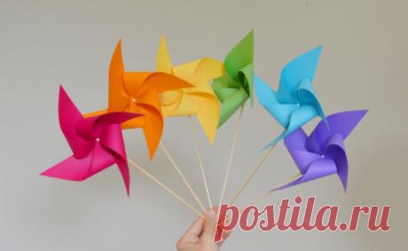 Вертушка из бумаги: идея летней поделки для детей