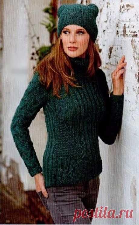 Приталенный пуловер и шапочка. | Пуловер, свитер, жакет. Приталенный пуловер и шапочка связать спицами. Описание вязания приталенногго пуловера. Описание вязания шапочки. Схемы вязания пуловера и шапочки.