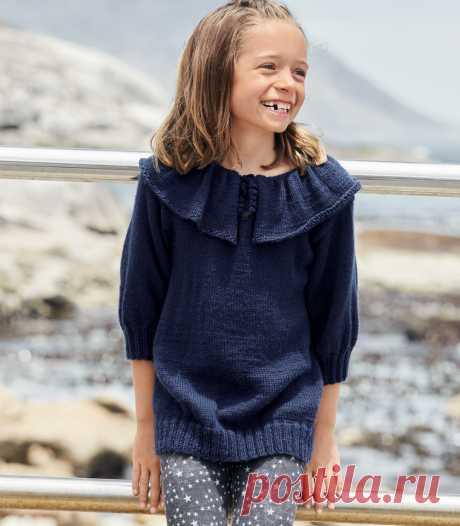 Пуловер с широким воротником для девочки - схема вязания спицами с описанием на Verena.ru