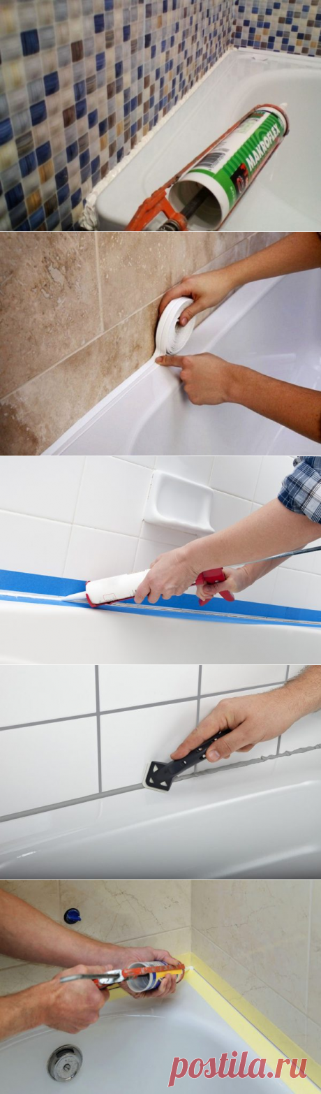 Как соединить ванну с плиткой на стене: особенности заделки швов, чем лучше