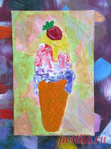 Painting Ice Cream with Berry Acrylic Small Kitchen Decor   Etsy