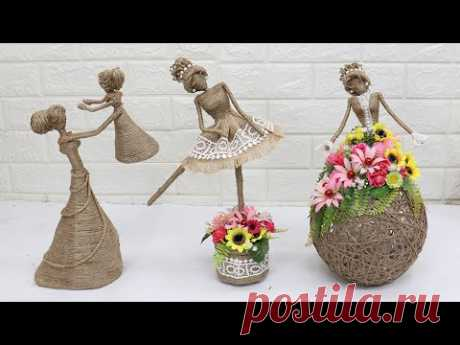 3 Beautiful Jute craft doll | How to decorate doll from jute rope | #2 - YouTube
