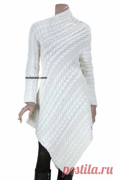Оригинальное вязаное платье по диагонали | Вяжем с Лана Ви