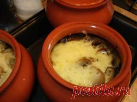 Meat in a pot with potatoes and cheese\u000aMeat in a pot — a simple dish in preparation. Your family will surely be glad if you make for dinner meat in a pot with potatoes and cheese. Believe, it is very much tasty!\u000aDishes in pots — it is simple, quickly and it is useful!\u000aIngredients:\u000aPork — 400 g\u000aOnions — 2 bulbs\u000aCheese — 100 g\u000aMushrooms (champignons) — about 15-16 average features\u000aPotatoes — 3-4 average tubers\u000aButter — 50 g\u000aSunflower oil\u000aMayonnaise\u000aSalt to taste\u000aPrigotovle