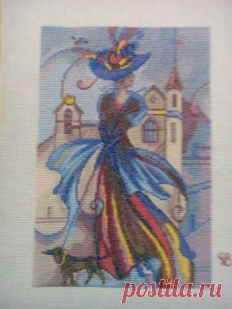 Этап процесса вышивки «Незнакомка ( картина в стиле модерн)» - Вышивка крестом