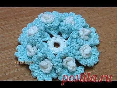 ▶ Вязание крючком Цветка Урок 23 Как связать Цветок со спиральками в лепестках - YouTube