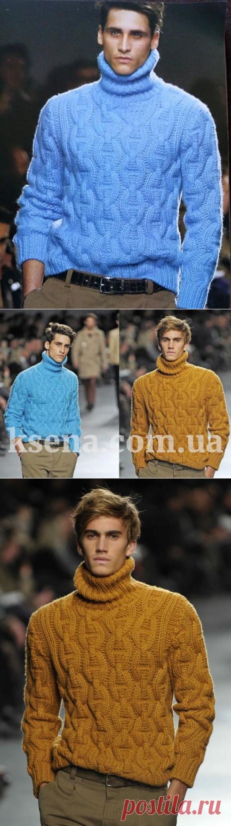 купить мужской свитер - вязаный мужской свитер - вязание для мужчин - Ksena