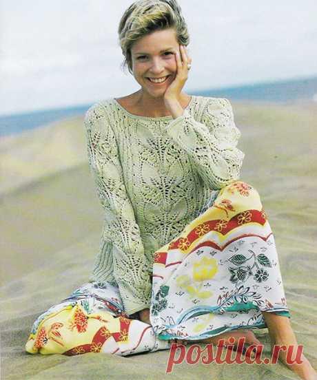 Фисташковый пуловер с узором из весенних листьев спицами – схемы вязания с описанием — Пошивчик одежды