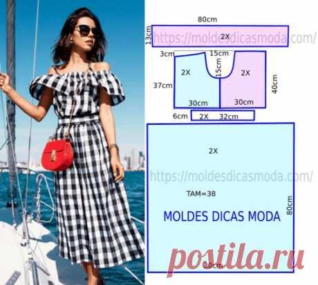 Ну очень простая выкройка летнего платья Модная одежда и дизайн интерьера своими руками