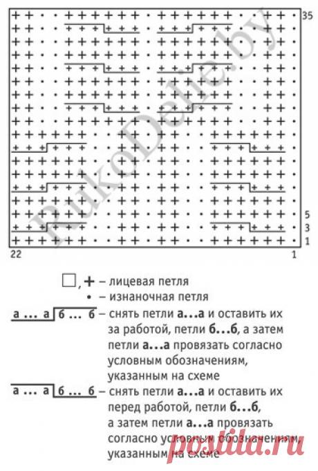 """Вязанные спицами рельефные полосы со сложными перекрещиваниями со схемой и обозначениями. :: Узоры """"Косы"""" и """"Жгуты"""" :: Схемы и образцы узоров :: Вязание на спицах :: RukoDelie.by"""