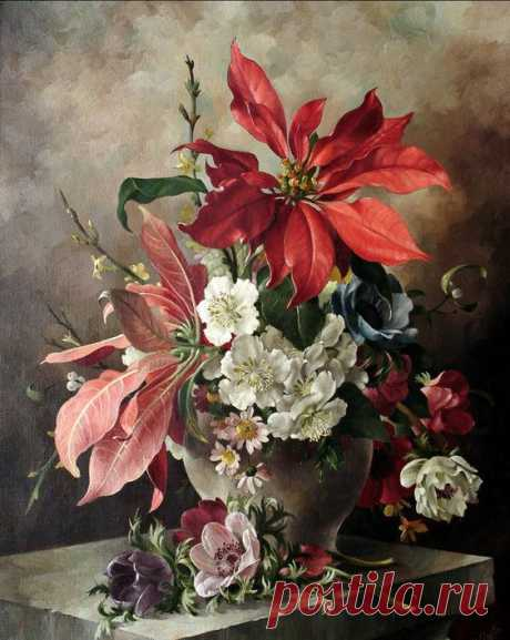 Harold Clayton (1896-1976) - Still life with Poinsettia, Anemone and Christmas roses.