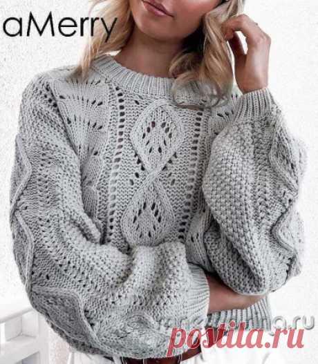 Вяжем по фото. Пуловер с ажурным узором ромбы и широким рукавом