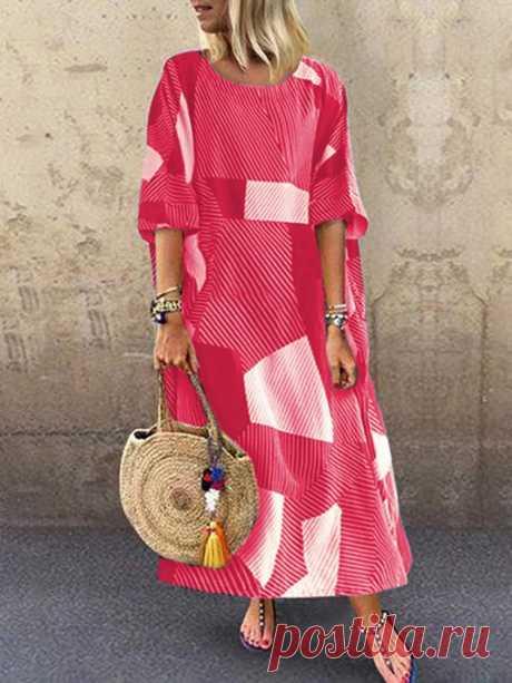 Hot saleZANZEA Полосатый рукав с геометрическим рисунком Loose Maxi Платье For Женское Cheap - NewChic