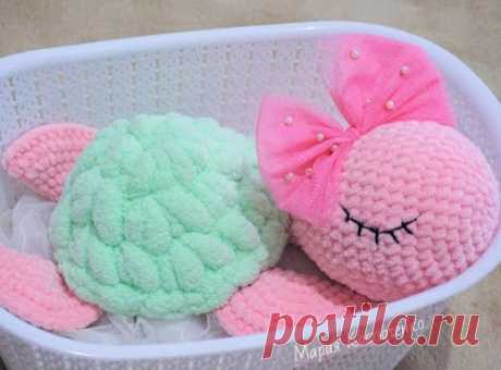 1000 schemes of an amiguruma in Russian: Knitted turtle Lila