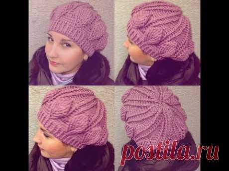 Нежная шапка-берет крючком рельефными столбиками узор листочки crochet cap