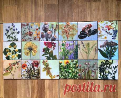 плитка гербарий, плитка ручной работы, плитка авторская, плитка растения, плитка цветы, плитка ручной работы купить