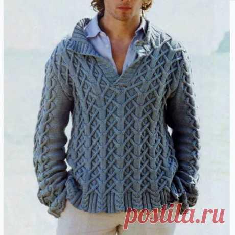 Брутальный джемпер, ганзейский свитер и офицерский пуловер для мужчин спицами   Всё лучшее - маме   Яндекс Дзен
