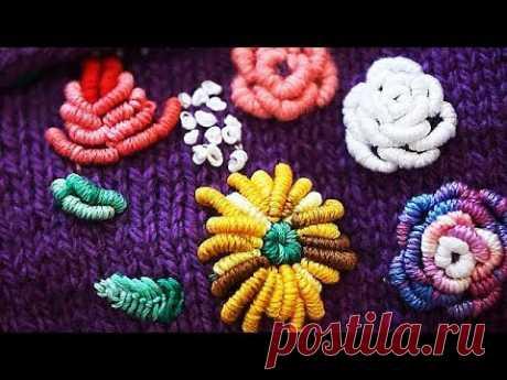 Вышивка на вязаных изделиях. Вышивка по трикотажу. Вышивка цветов. (embroidery on knitting)