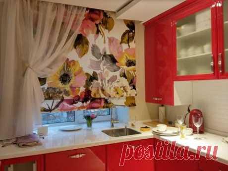 Las cortinas a una pequeña cocina
