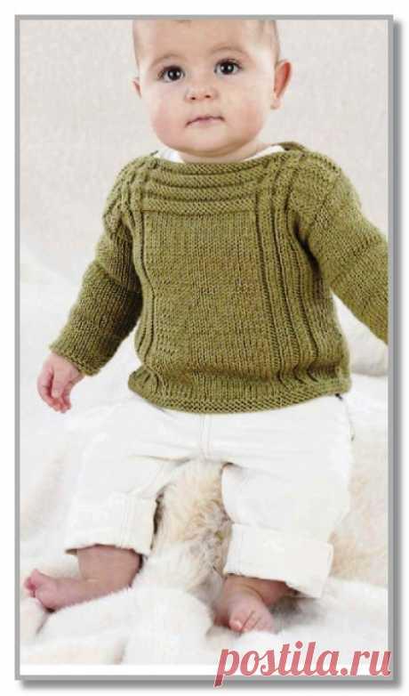 Вязание спицами детям от 0 до 3 лет. Описание детской модели со схемой и выкройкой. Пуловер с вырезом лодочка, и рельефными полосками. Размеры: на 0-6 (6-12 месяцев, 1-2, 2-3 года)