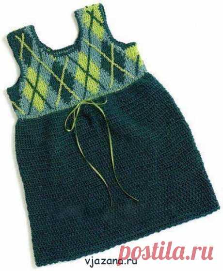 Вязаное платье крючком для девочки на возраст 3-6 лет | Вязана.ru