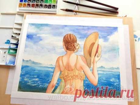 Рисуем девушку у моря