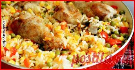Ароматная курица с гарниром из риса и овощей по-каталонски . Милая Я