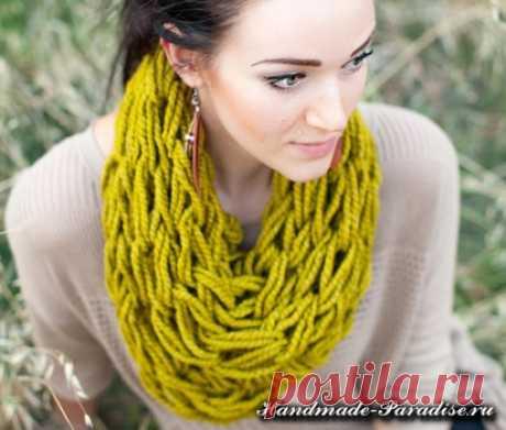 Вязание руками объемного шарфа - Handmade-Paradise