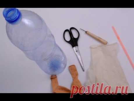 Увидела в журнале познавательную поделку из пластиковой бутылки и шариков и сделала такую же для ребенка