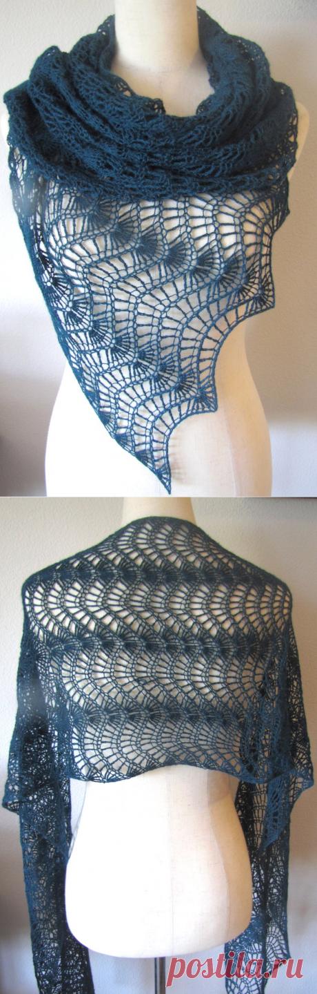Темно-бирюзовый шарф перо и веер кружева крючком альпака шелк | Etsy
