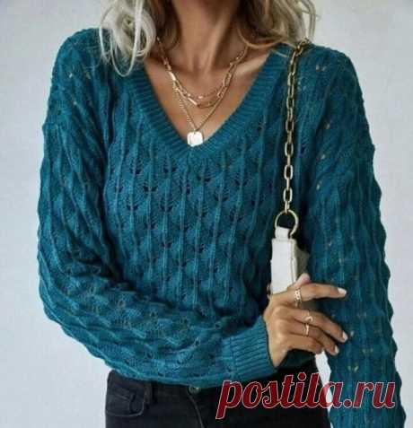 Интересный узор для пуловера спицами