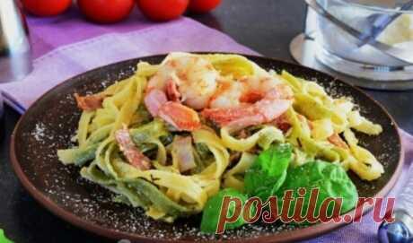 Изумительная Карбонара с креветками в сливочном соусе: пошаговый рецепт приготовления