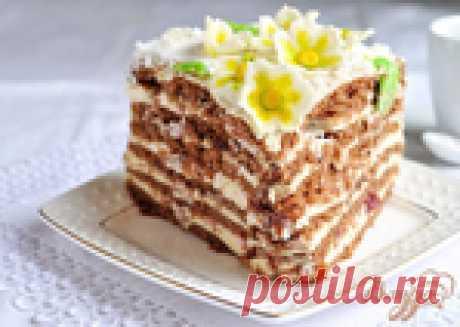 Красивый и вкусный торт «Цветы на снегу»