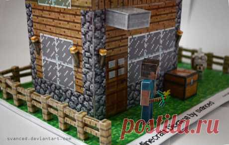 Minecraft Diorama by svanced 2 This is my idea/view of a Minecraft Diorama. All parts(including the house template)were downloaded from pixelpapercraft.The house was scaled up and the rest of the parts too to fit with the house....