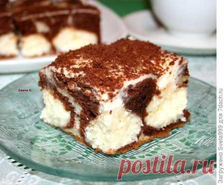 """Пирог """"Утренняя роса"""" с творожно-кокосовыми шариками, сметанным кремом и шоколадом. Пошаговый рецепт и фото"""