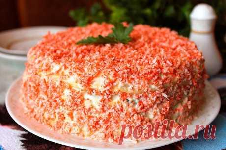 Закусочный блинный торт «Крабовый остров» | Foodbook.su Закусочный торт из блинов всегда получается невероятно нежным и сочным, поэтому многим придется по вкусу. Особенно блюдо понравится любителям закусок из крабовых палочек. Тоненькие блинчики,