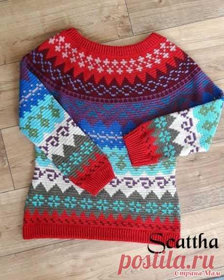 Жаккардовый пуловер крючком - Вязание - Страна Мам