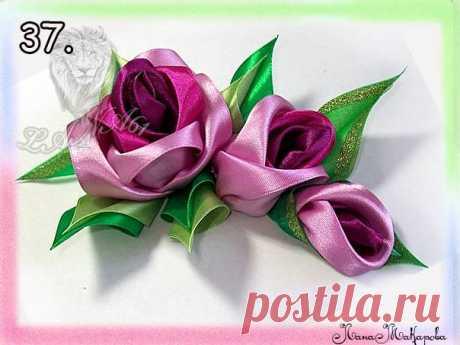 Розы из атласных лент. Подробный фото мастер-класс