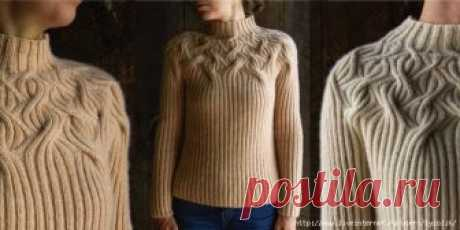SWEATER WITH THE ROUND COQUETTE OF BOTANICAL YOKE