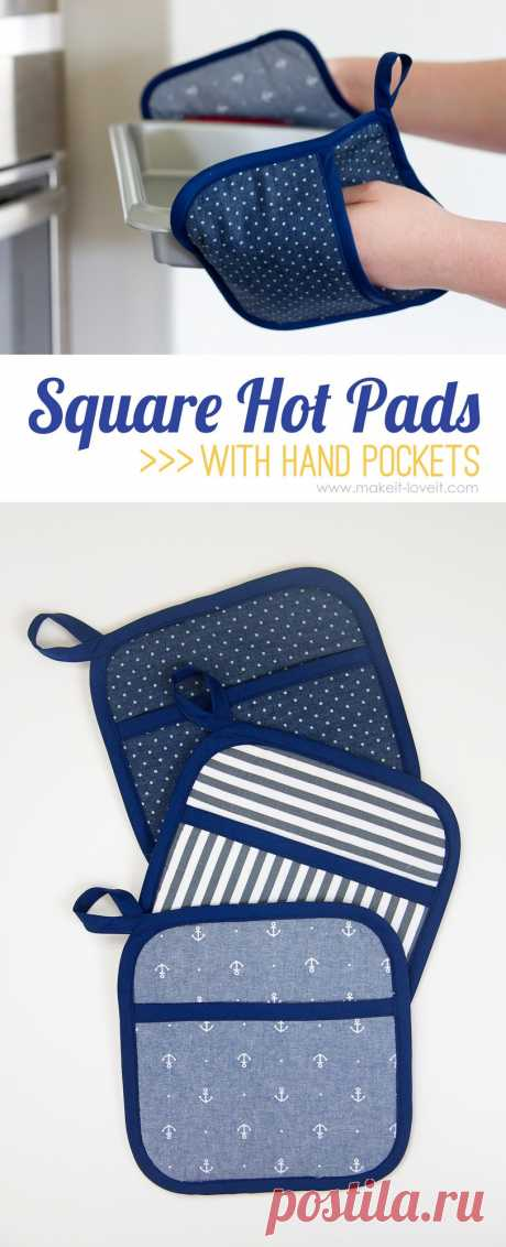 Square Hot Pads with Hand Pockets