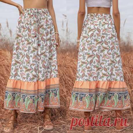 Летние длинные юбки в стиле бохо с разрезом, на шнуровке и пуговицами, Белая Макси трапециевидная юбка с высокой талией для женщин 2021, женская пляжная одежда