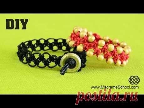 DIY Easy ZigZag Square Knot Loops Bracelet | Macrame School - YouTube